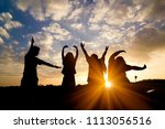 silhouette of people group... | Shutterstock . vector #1113056516