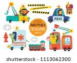 kids transport set with cute... | Shutterstock .eps vector #1113062300