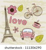 tower eiffel  coffee with car... | Shutterstock .eps vector #111306290