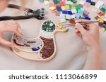 workplace of the mosaic master  ...   Shutterstock . vector #1113066899