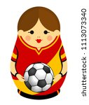 drawing of a matryoshka with... | Shutterstock .eps vector #1113073340