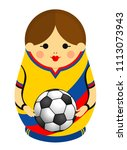 drawing of a matryoshka with... | Shutterstock .eps vector #1113073943