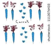 strange crazy blue carrots.... | Shutterstock .eps vector #1113076433