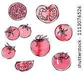 watercolour whole tomato ... | Shutterstock .eps vector #1113076526