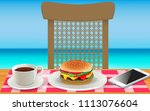 cheeseburger with hot coffee on ... | Shutterstock .eps vector #1113076604