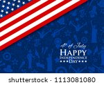 illustration of american flag... | Shutterstock .eps vector #1113081080