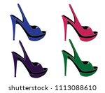 woman shoes vectors | Shutterstock .eps vector #1113088610