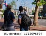 tourist asking for direction... | Shutterstock . vector #1113096539