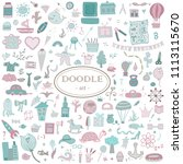 colorful hand drawn doodle set... | Shutterstock .eps vector #1113115670