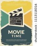 movie retro poster. vector...   Shutterstock .eps vector #1113118316