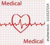 cardiology design over red... | Shutterstock .eps vector #1113127214