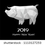 2019 happy new year greeting... | Shutterstock .eps vector #1113127253