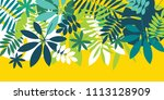 green simple tropical leaves... | Shutterstock .eps vector #1113128909