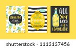 set of 3 hand drawn cards.... | Shutterstock .eps vector #1113137456