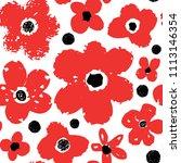 big flowers seamless pattern.... | Shutterstock .eps vector #1113146354