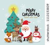 santa claus  deer  bear  fox ...   Shutterstock .eps vector #1113153839