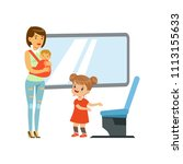 little girl giving way to woman ... | Shutterstock .eps vector #1113155633