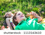 the boy and his mother are...   Shutterstock . vector #1113163610