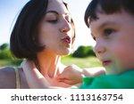 mother hugs the boy. a woman is ...   Shutterstock . vector #1113163754