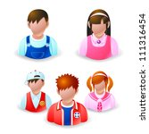 people icons - teenage group network - stock vector