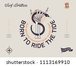 born to ride the tide is a... | Shutterstock .eps vector #1113169910