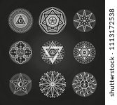 white mystery  occult  alchemy  ...   Shutterstock . vector #1113172538