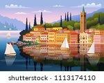 mediterranean romantic... | Shutterstock .eps vector #1113174110