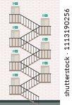 exit door vector. stair vector. ...   Shutterstock .eps vector #1113190256