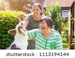 mentally disabled woman with a... | Shutterstock . vector #1113194144