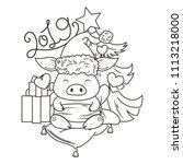 cute cartoon pig in love with... | Shutterstock .eps vector #1113218000