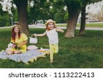 little cute child baby girl...   Shutterstock . vector #1113222413