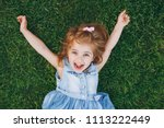 laughing little pretty child... | Shutterstock . vector #1113222449