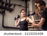 young beautiful female working... | Shutterstock . vector #1113231428