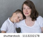 mother with son  pregnant...   Shutterstock . vector #1113232178