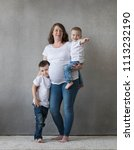mother pregnant with two...   Shutterstock . vector #1113232190