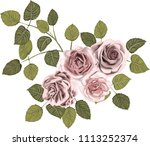 pink  roses _ stylized vector_...   Shutterstock .eps vector #1113252374