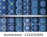 vector blue patterns. seamless... | Shutterstock .eps vector #1113252896