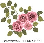 pink  roses _ stylized vector_...   Shutterstock .eps vector #1113254114