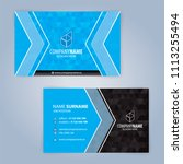 business card template. blue... | Shutterstock .eps vector #1113255494