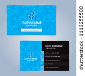 business card template. blue... | Shutterstock .eps vector #1113255500