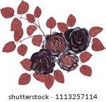 black roses bouquet   black...   Shutterstock .eps vector #1113257114