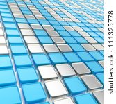 Binary technology background: chrome metal ones and zeros made of glossy square fragment plates - stock photo