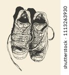 worn out old sneakers.... | Shutterstock .eps vector #1113263930