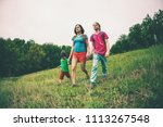 a woman with children goes...   Shutterstock . vector #1113267548