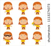 set of little funny girl with... | Shutterstock .eps vector #1113274373