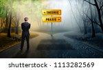 businessman on the crossroad... | Shutterstock . vector #1113282569