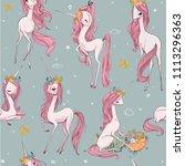 cute unicorn seamless pattern | Shutterstock .eps vector #1113296363