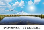 beautiful landscape and... | Shutterstock . vector #1113303368