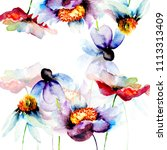 template for greeting card with ... | Shutterstock . vector #1113313409