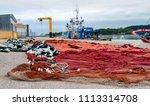 red and crimson nylon fishing... | Shutterstock . vector #1113314708